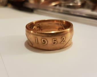 Coin Ring Irish Penny 1952 Size U 1/2