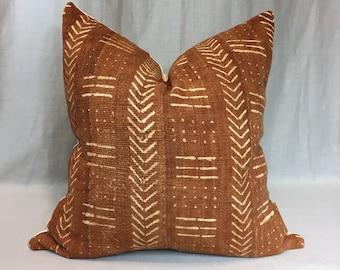 Rust African Mudcloth Pillow Cover, Boho Pillows, Mudcloth Pillows, Boho Chic Pillow Cover, Arrow Print Pillow, Boho Decor, Cream Mudcloth