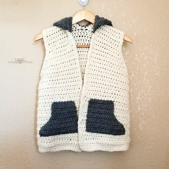 Sweater Vest Crochet PATTERN Hooded Vest Pattern Crochet