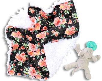 Lexi's Floral Minky Baby Girl Lovey | Black and Coral Flower Security Blanket | Mini Baby Blanket | Faux Fur Lovie