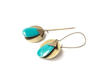 Earrings bronze sequin, sequin blue enamel earrings, drop, Teal sequins sleepers