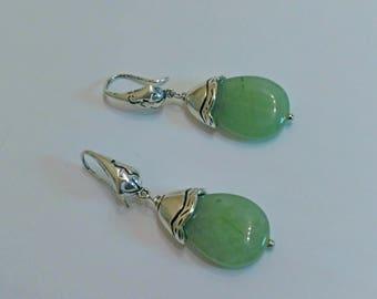 Green jade earrings, green earrings, teardrop earrings, silver earrings, gemstone earrings, green stone earrings, dangle earrings