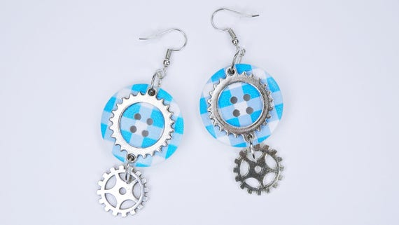Earrings with large blue knobs on silver-coloured earrings pendant earrings steampunk gear retro blue White