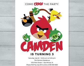 Angry Birds Birthday Party Invitation  |  Angry Birds Birthday Invite  |  Red, The Pigs, Chuck, Bomb, Angry Birds Invite