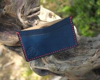 Ultra Slim Card Wallet- Royal Blue & Red Stitch