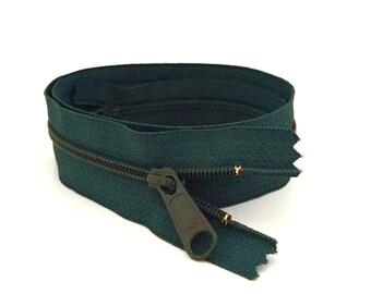 """YKK Zipper / DARK TEAL Zipper / Dress Zipper / 16"""" Long Pull Zipper / 9"""" zipper / Long Pull Zipper / Handbag Zipper / Closed End Zipper"""