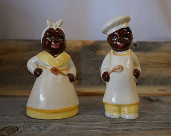 Vintage Black Americana Mammy and Chef Salt and Pepper Shakers ~ Antique