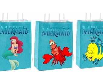 Little Mermaid birthday Party Favor Bag~ Birthday party decor instant download