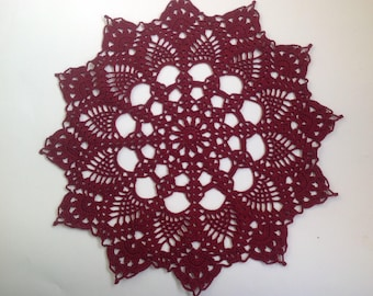 Burgundy Crochet Napkin Crochet Doily Handcrafted Home Decor Lace doily.
