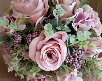 Wedding Bouquet, Roses, Hydrangea, Wedding Flowers, Bridal, Artificial Flowers, Silk Flowers, Weddings