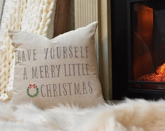 Have yourself a merry little Christmas pillow COVER - Christmas pillow - Christmas wreath - Christmas decor - merry Christmas pillow