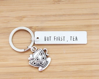 hand stamped keychain | but first, tea
