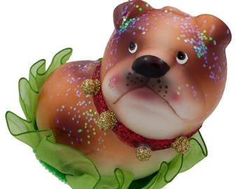 "3.5"" Bulldog Puppy Blown Glass Christmas Ornament"