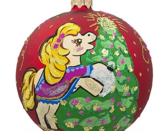 "4"" Pony Horse Decorating Tree Glass Ball Christmas Ornament"