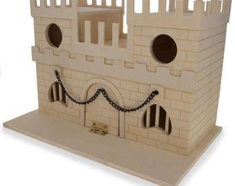 "6.5"" Blank Unfinished Wooden Birdhouse Castle"