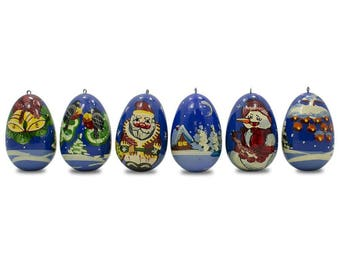 """2.25"""" Set of 6 Santa Claus with Snowman and Birds Wooden Russian Christmas Ornaments"""