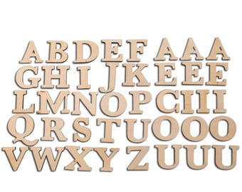 "2.7"" Set of 41 Unfinished Wooden Blank Alphabet Letters"