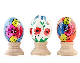 Set of 3 Petals Flower Wooden Pysanky Easter Eggs with Stands
