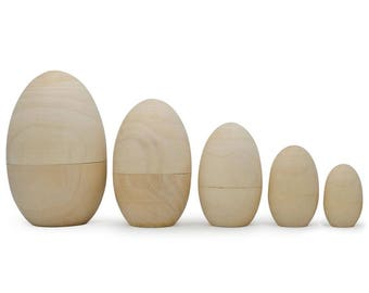 "5"" Set of 5 Unpainted Blank Wooden Nesting Easter Eggs"