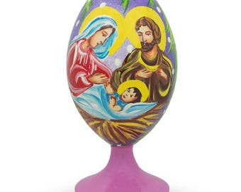 """3.5"""" Holy Family with Baby Jesus and Christmas Bells Wooden Easter Egg Figurine"""