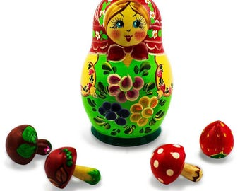 5'' The Girl with 4 Mushrooms Wooden Russian Nesting Doll