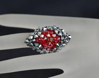 Swarovski crystal ring light chrome 2x - light siam ab - style marquise