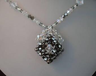 Necklace crystal Swarovski crystal metallic sylver-crystal moonlight double losange