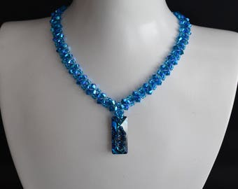 Crew Neck Swarovski Pendant 6925 Growing Crystal Rectangle 26mm Crystal Bermuda Blue