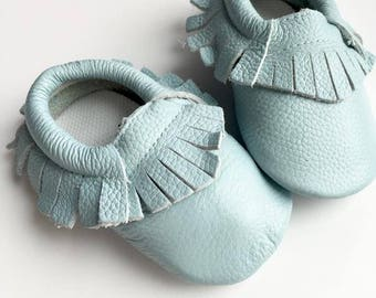 Size 3 Genuine Leather Moccasins, Light Blue, Moccasins, Baby Moccasins, Fringe Moccasins, Handmade, Toddler Moccasins, Moccasin, Blue