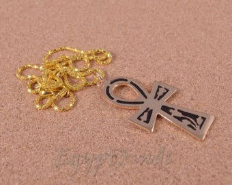 Egyptian Brass Black Enamelled Ankh Key of Life Necklace