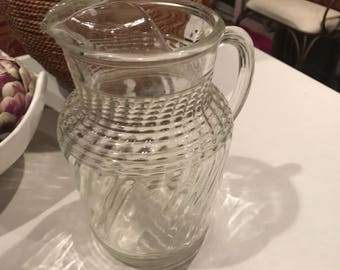 Vintage heavy pressed glass water pitcher
