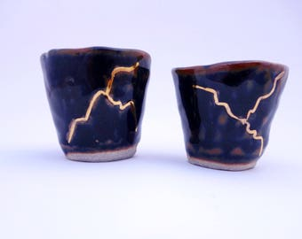 Kintsugi Inspired Cups - Set of 2 Wabi Sabi Black & Brown Kintsukuroi Shot Glasses - PP-MLSC-818
