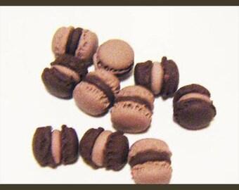 Set of 10 miniature polymer clay macarons kawaii treats jar