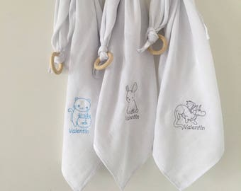Set of embroidered baby personalisases diapers