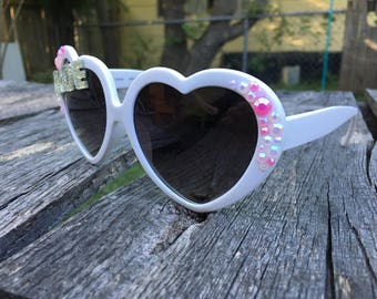NEW! BRIDE White Heart and Pearly Pink Rhinestones Embellished Sunglasses