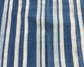 Indigo Stripe, African vintage textile, Washed and ready to use, and faded indigo fabric