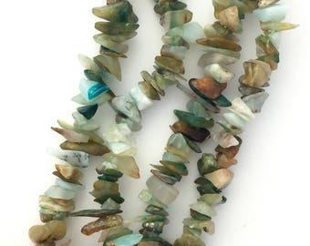 "Natural Peruvian Opal Chips Genuine Beads Semi-Precious Stone Small Irregular Nugget Gemstone DIY Jewelry Making Supplies Beading 36"" Strand"
