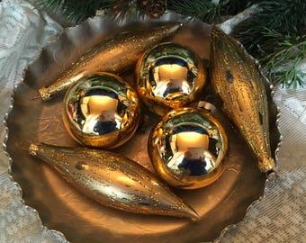 Vintage Christmas, 1950s Christmas, Gold, Set/6, Christmas, Shiny Brite, Christmas Decor, Vintage Ornament, Glass Ornaments, Vintage