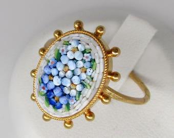 gold enamel ring, gold mosaic ring, enamel mosaic ring, Italian mosaic ring, blue enemel flower ring, forget me not ring, blue floral ring