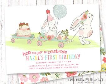 Bunny Birthday Invitation, Summer Birthday Invitation, Floral Birthday Invitation, First Birthday Invitation, Bunny Birthday Invitation