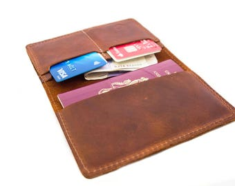 100% Genuine leather Passport Wallet with multi slots and your initials
