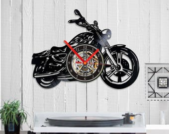 harley Vinyl clock motorcycle fan gift harley fan motorcycle gift, motorcycle art, motorcycle clock, motorcycle, decor,motorcycle rider