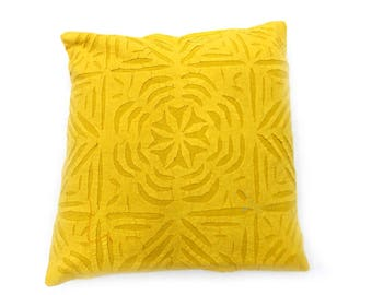 Indian Pure Cotton Cushion Cover Home Cut Work Decorative Yellow Color Size 17x17""