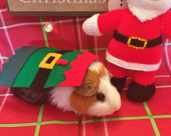 Christmas Guinea Pig Costume- Christmas Elf. Costume for small pet. Cute Unique and Handmade Christmas Gift