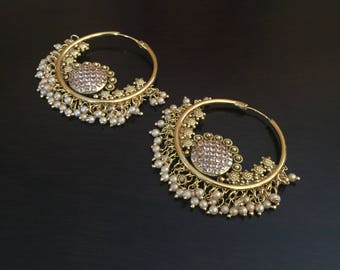 Gorgeous  polki hoop earrings gold finish/indian jewelry/bollywood/antique chandelier/chand bali/statement