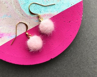 Small Blush Pink Pom Pom Earrings, Pom Pom Earrings, Pink Earrings, Mini Pom Pom Earrings, Fluffy Earrings, Statement Earrings