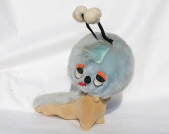 Vintage Kamar Sawdust Stuffed Toy Plush Worm Caterpillar 1969 Made in Japan
