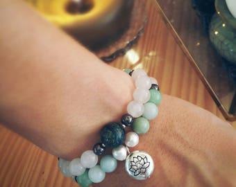 Amazonite, Hematite, Howlite, Pearl,  Quartz, Seraphinite & Silver plated Lotus Charm - Power Divine Feminine Peace and Protection SET