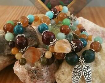 Autumnal Equinox - Abundance, Peace, Protection, Self Worth, Calming Bracelet - Gemstone Beads, Amazonite, Silver tone Charm