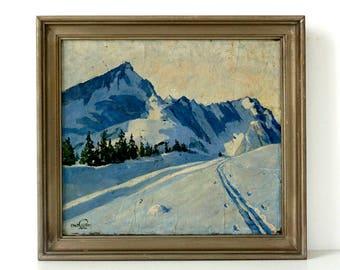 Blue Snow Winter Landscape - Vintage 1920's Original Oil Painting - Signed & Framed - Landscape Painting - Snow Painting